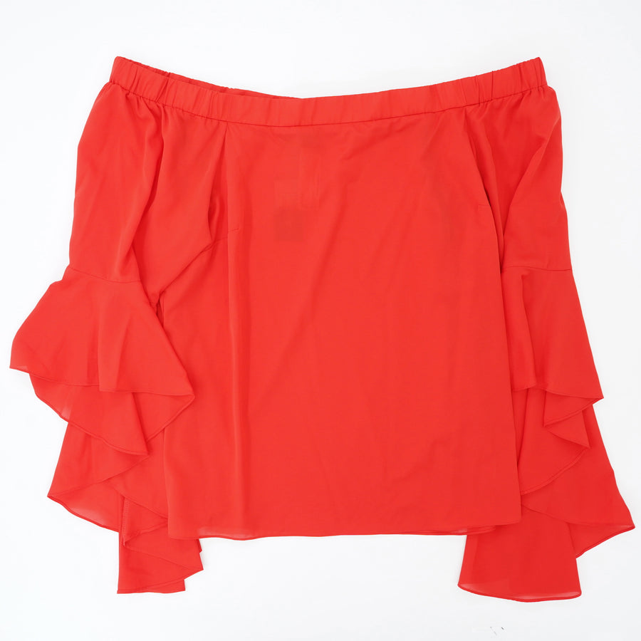 Red Off The Shoulder Bell Sleeve Blouse Size M