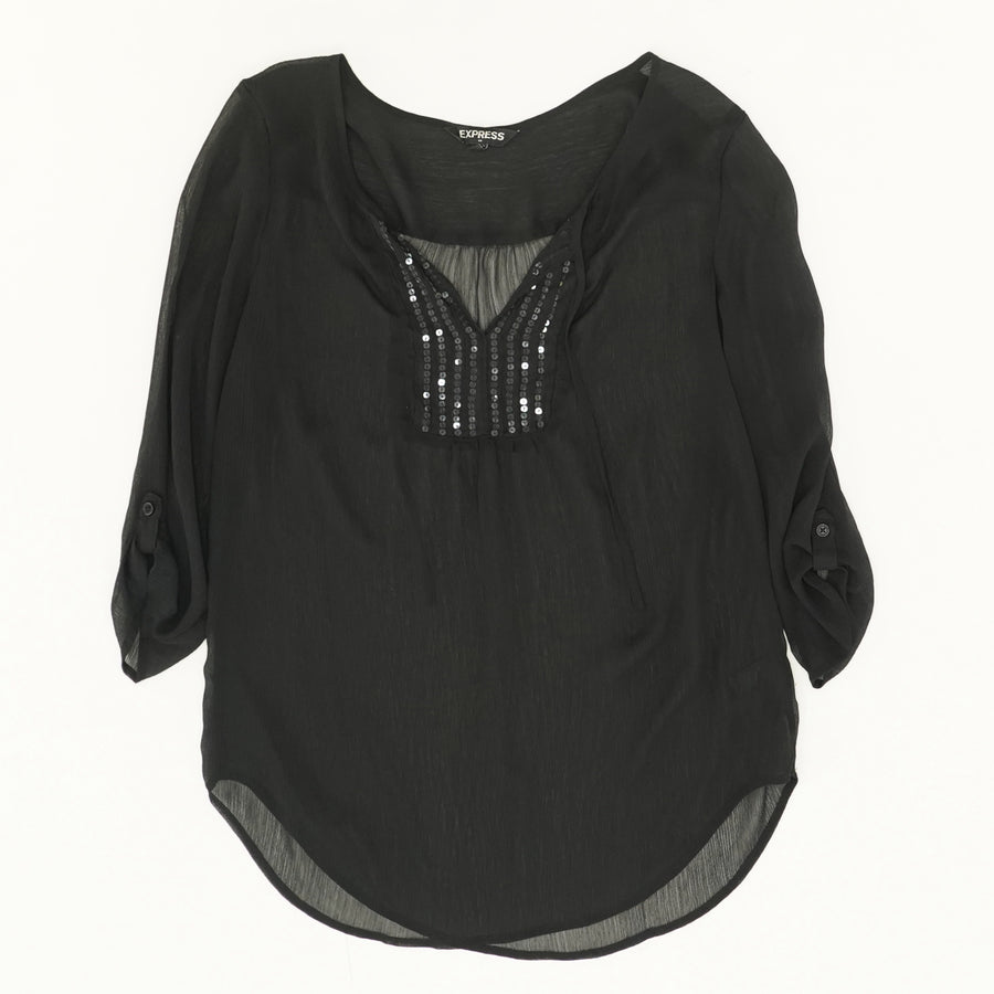 Sheer Blouse with Sequins Size M
