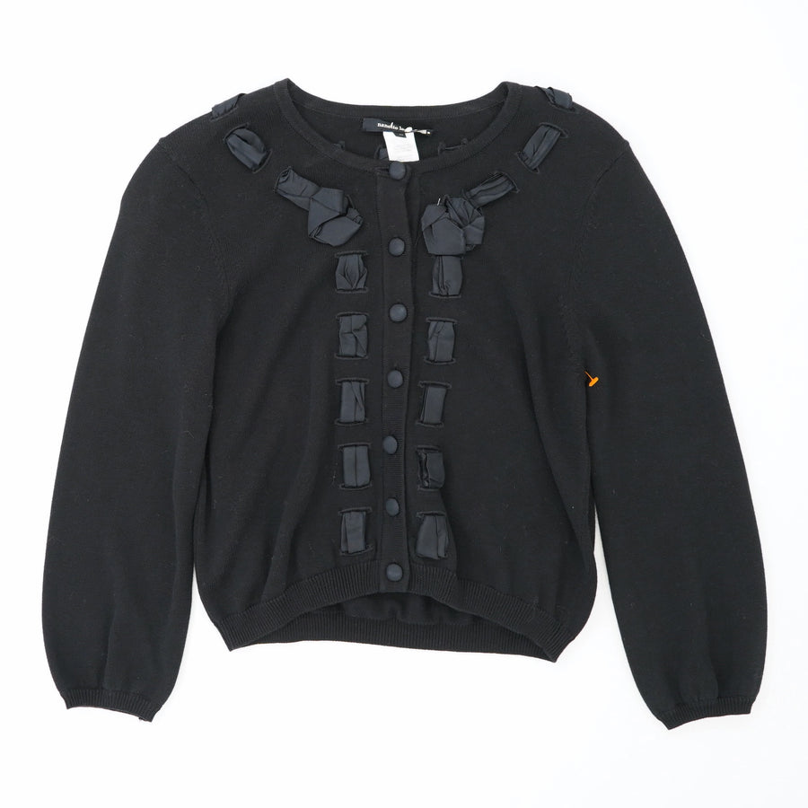 Black Ribbon Detail Cardigan Size M