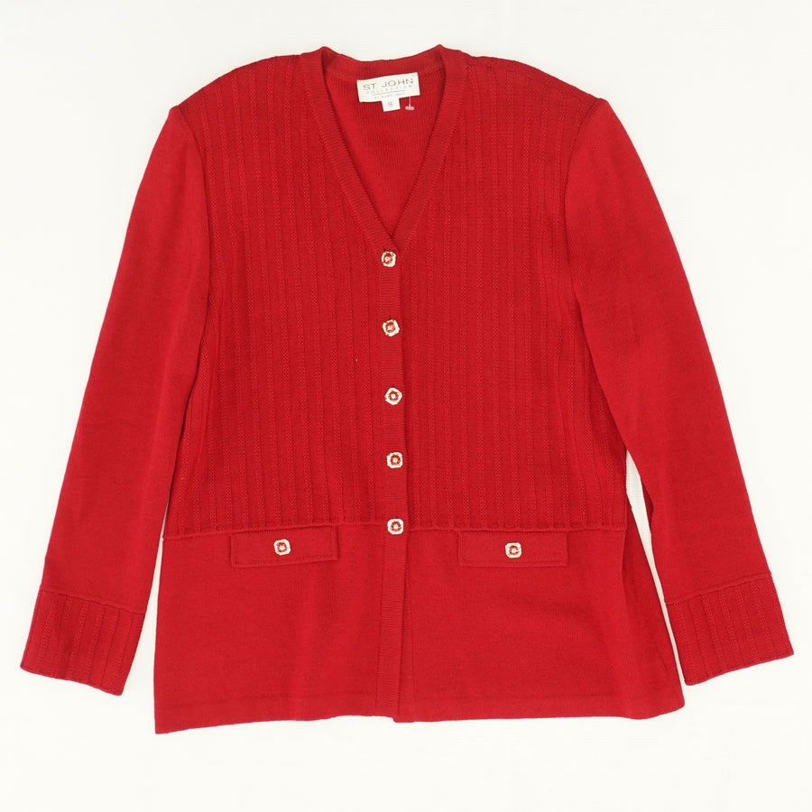 Red V-Neck Cardigan with Pockets Size 16