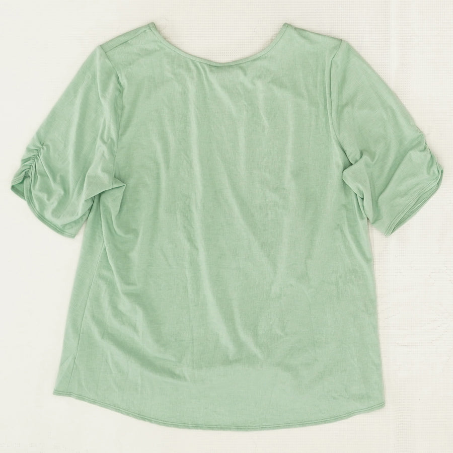 Knot Front Top With Necklace - Size XL