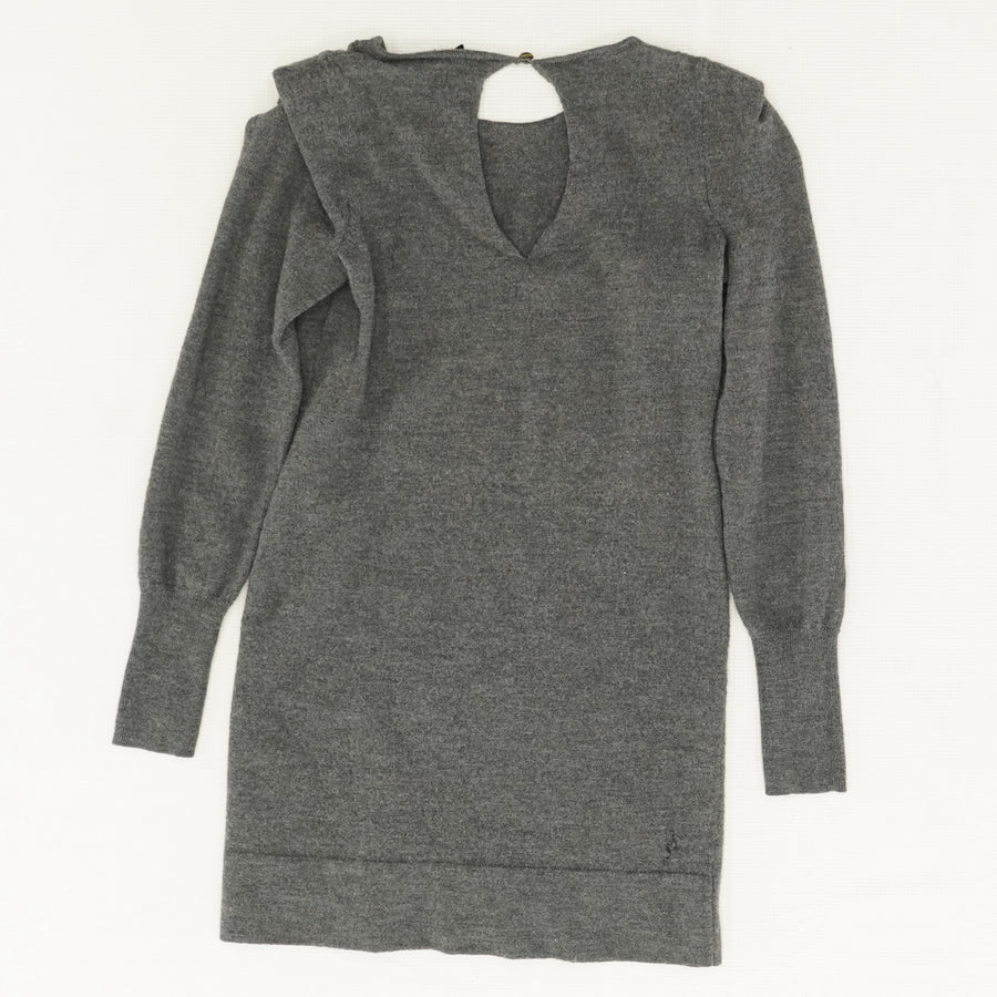 Gray Long Sleeve Open Back Sweater Size S