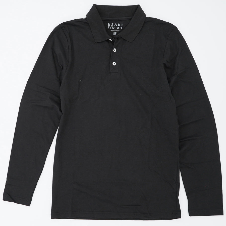 Black 3 Button Long Sleeve Shirt Size S