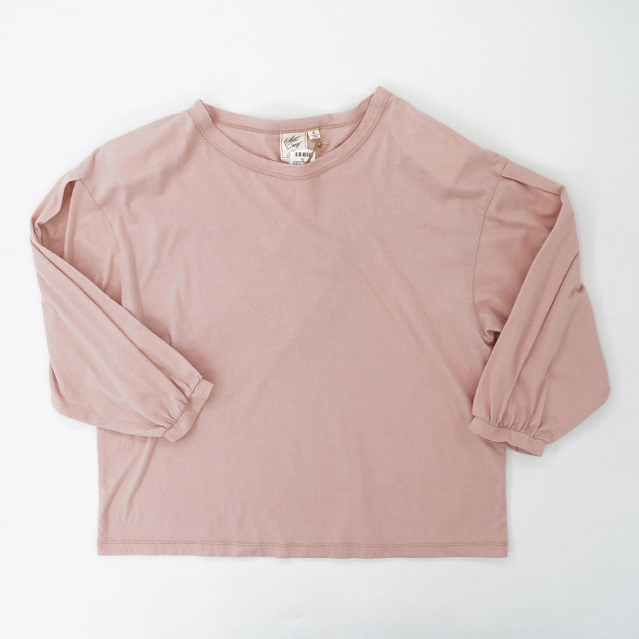 Pink Solid Long Sleeve Blouse Size S