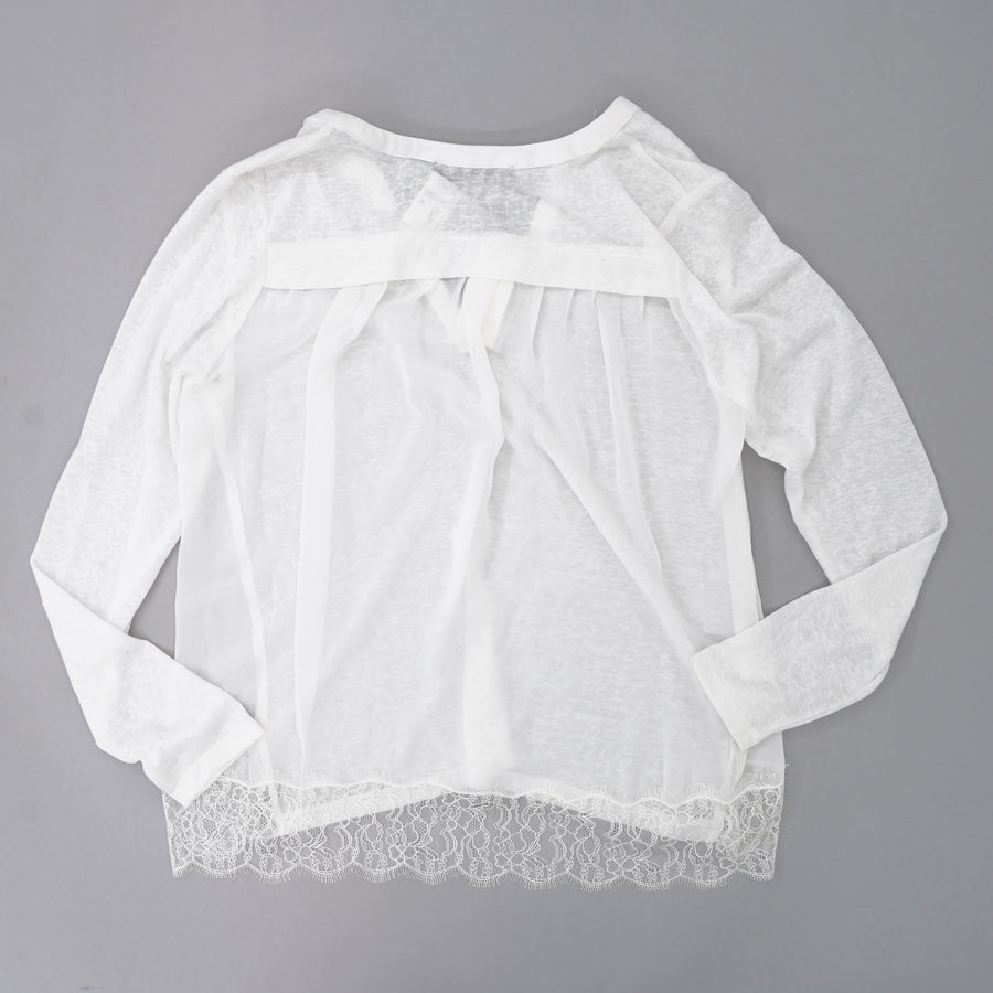 White V-Neck Blouse With Lace Trim Size S