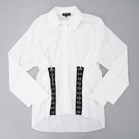White Long Sleeve Button Down With Detail In Front Size 6