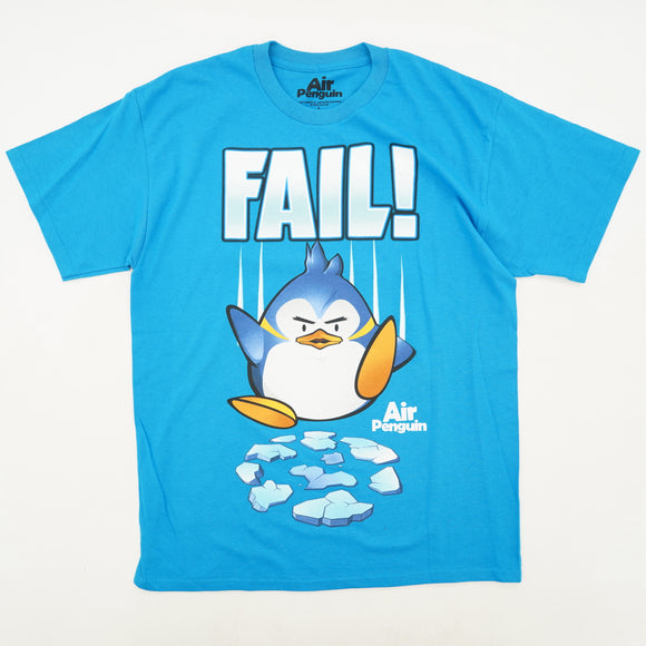 Teal FAIL! Air Penguin cracked Ice Tee Size L