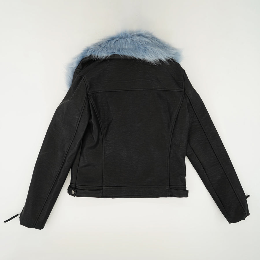 Black Ice Color With Blue Faux Fur Jacket Size L