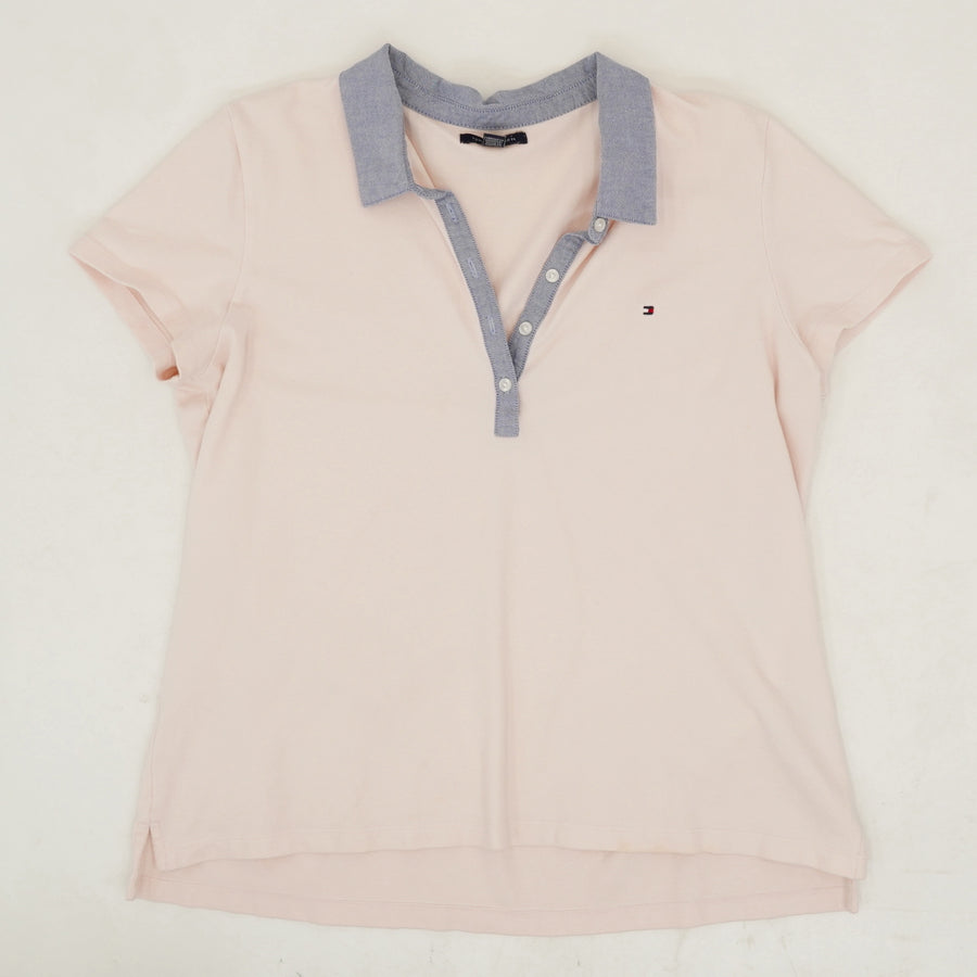 Peach Pink Chambray Collar Polo Shirt - Size XL