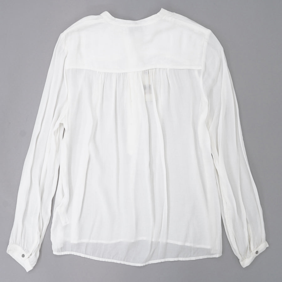 White Long Sleeve Half Button Blouse Size S