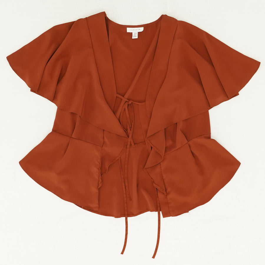 Ruffle Tie Front Blouse - Size 10