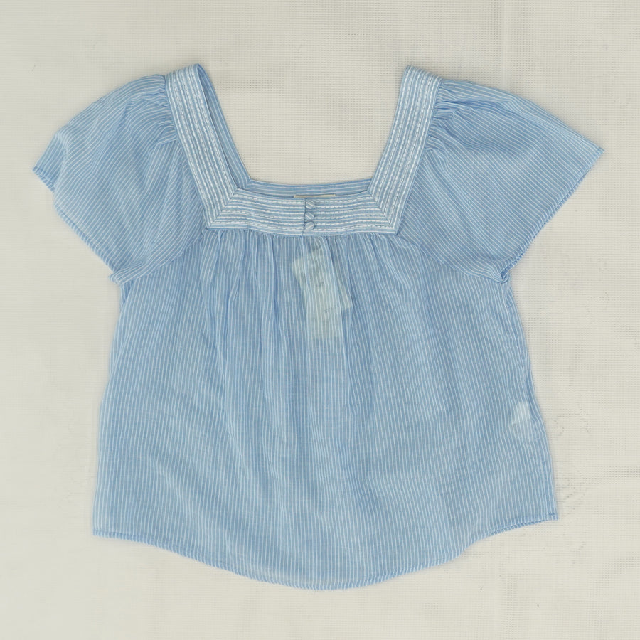 Blue Square Neck Striped Blouse - Size S