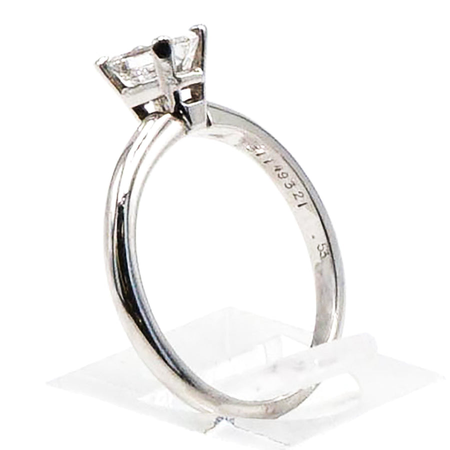 Platinum Emerald Cut Solitaire Diamond Ring Size 6.5