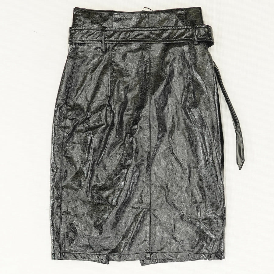Faux Leather Midi Wrap Skirt - Size 34,38,46