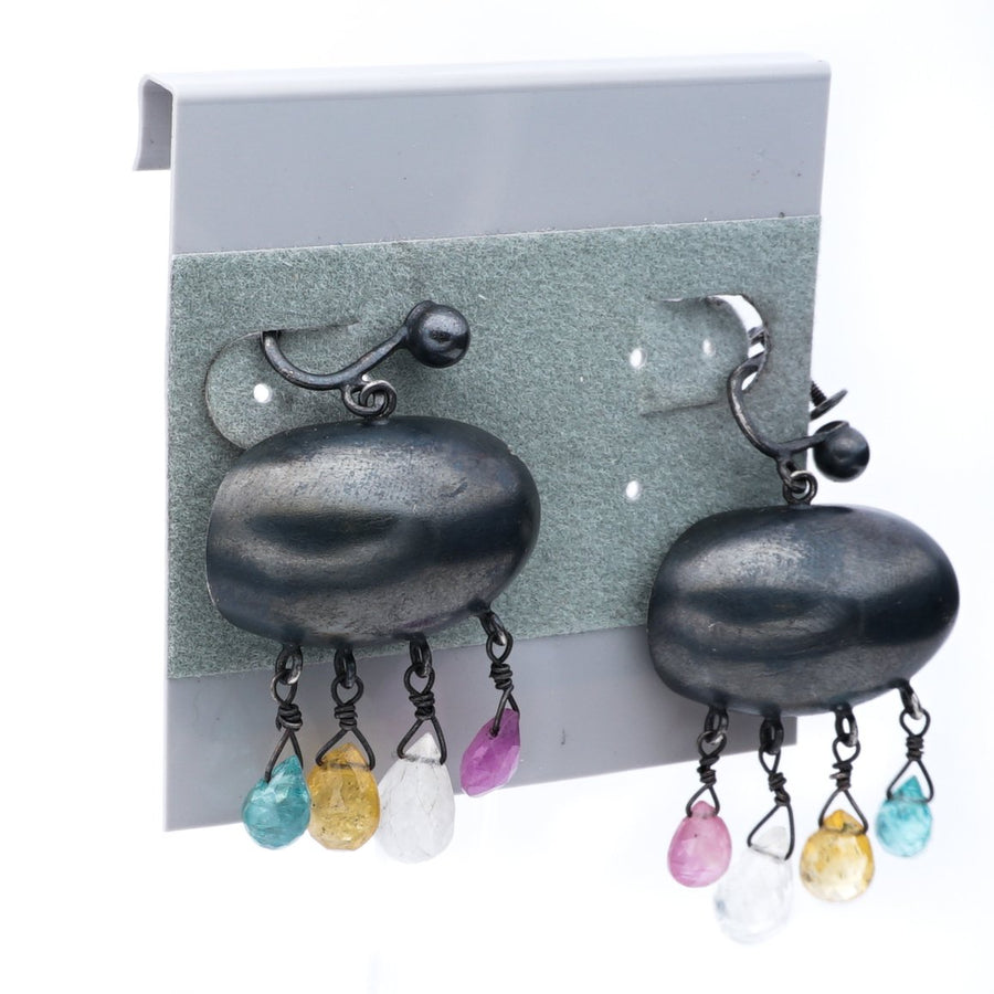 Multi-Colored Bead Earrings with Screw On Backs