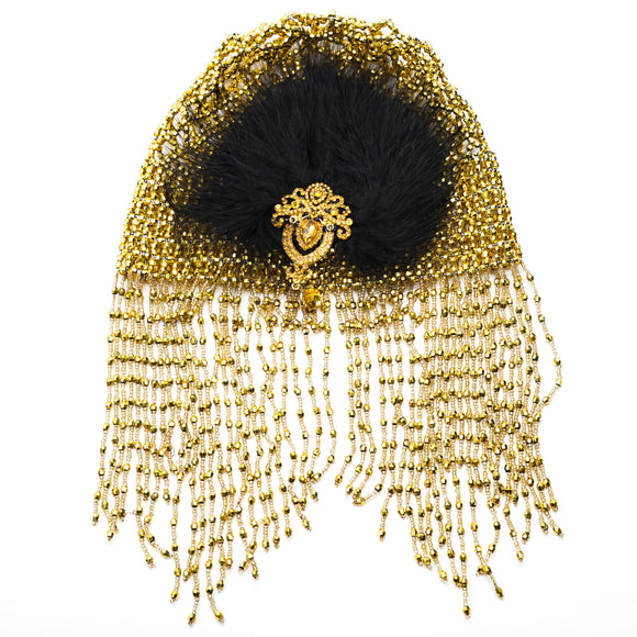 Beaded Head Piece With Feather Clip