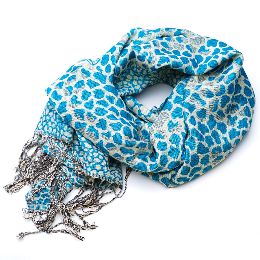 Blue Cheetah Print Scarf
