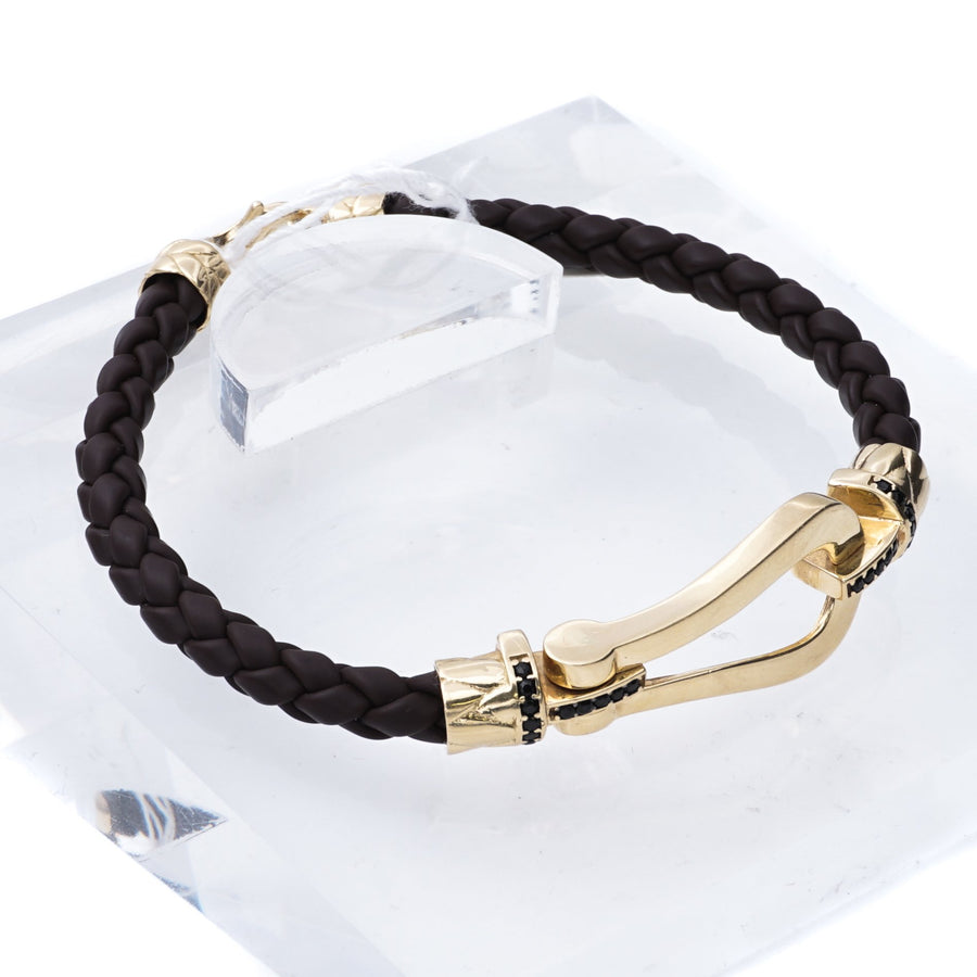 Brown Leather Bracelet with 18k Yellow Gold Loop & Black Stone Accents