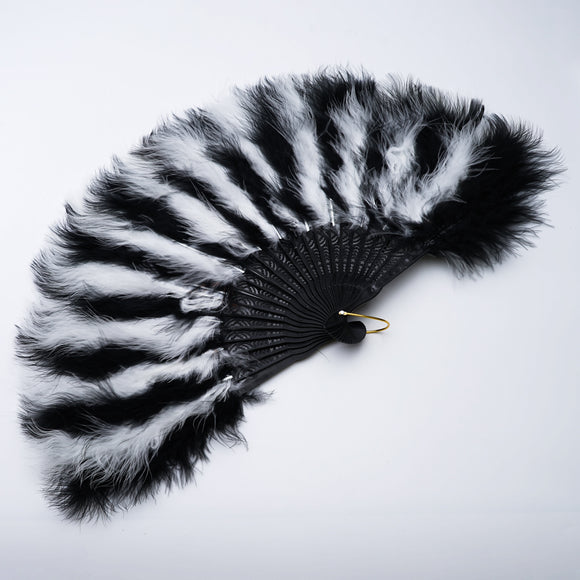 Black and White Feather Folding Costume Fan