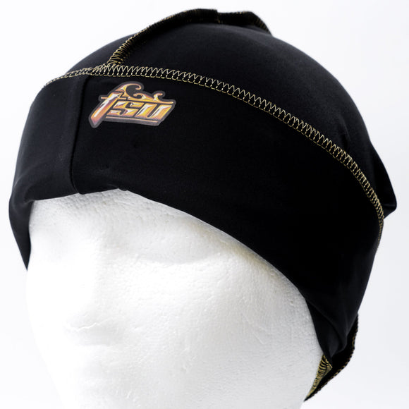All Purpose Stringless Durag Black With Gold