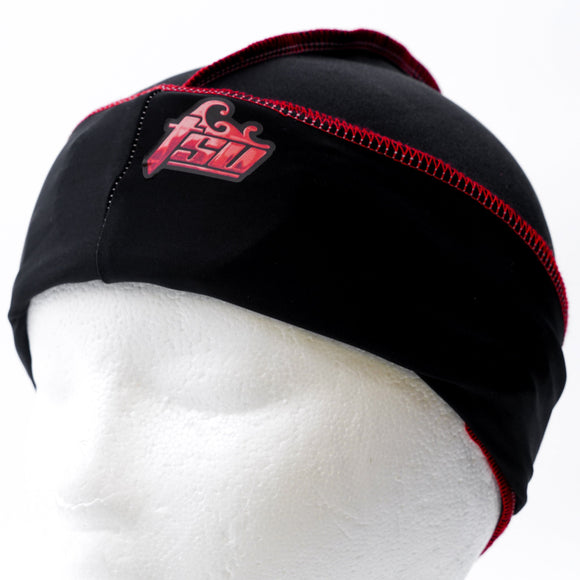 All Purpose Stringless Durag Black With Red