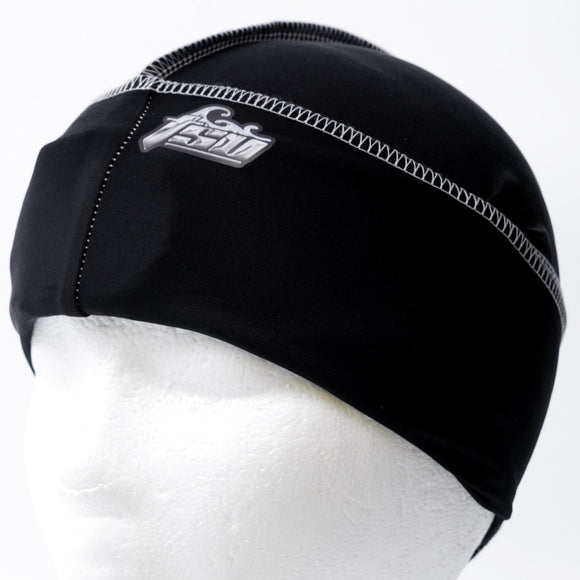All Purpose Stringless Durag Black With White