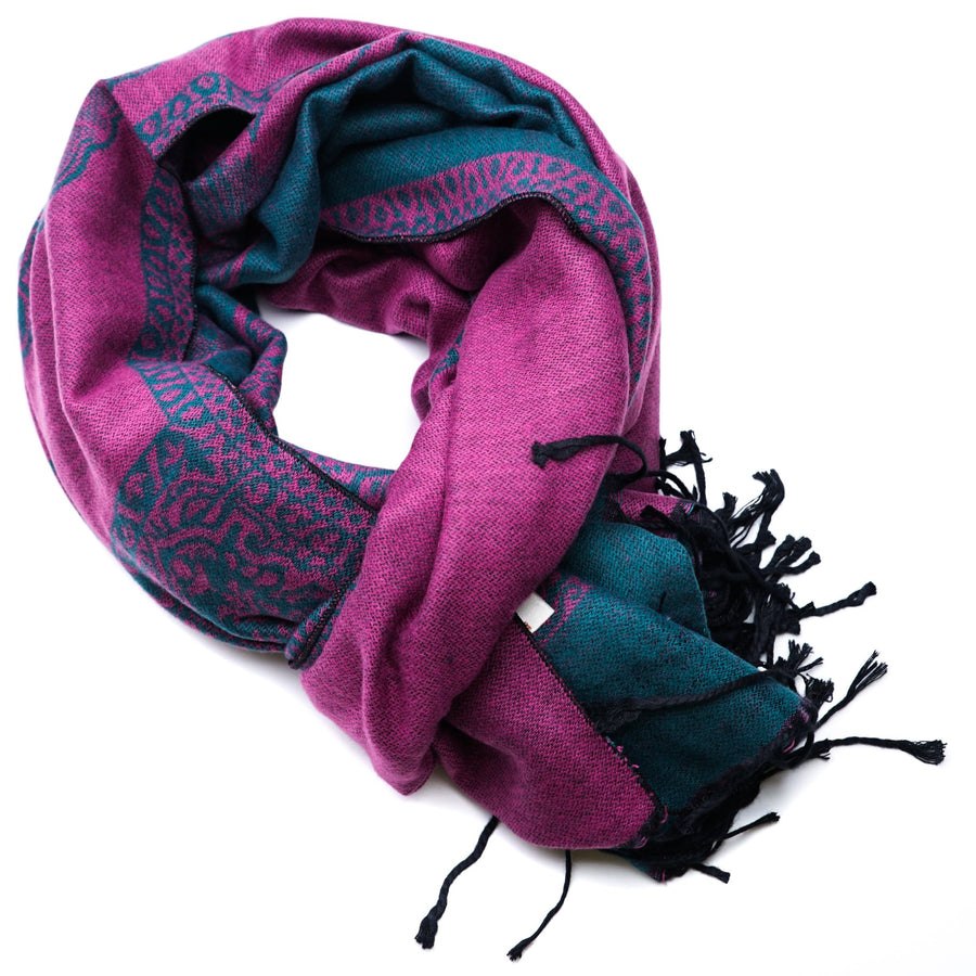 Reversible Purple, Teal, & Black Butterfly Scarf