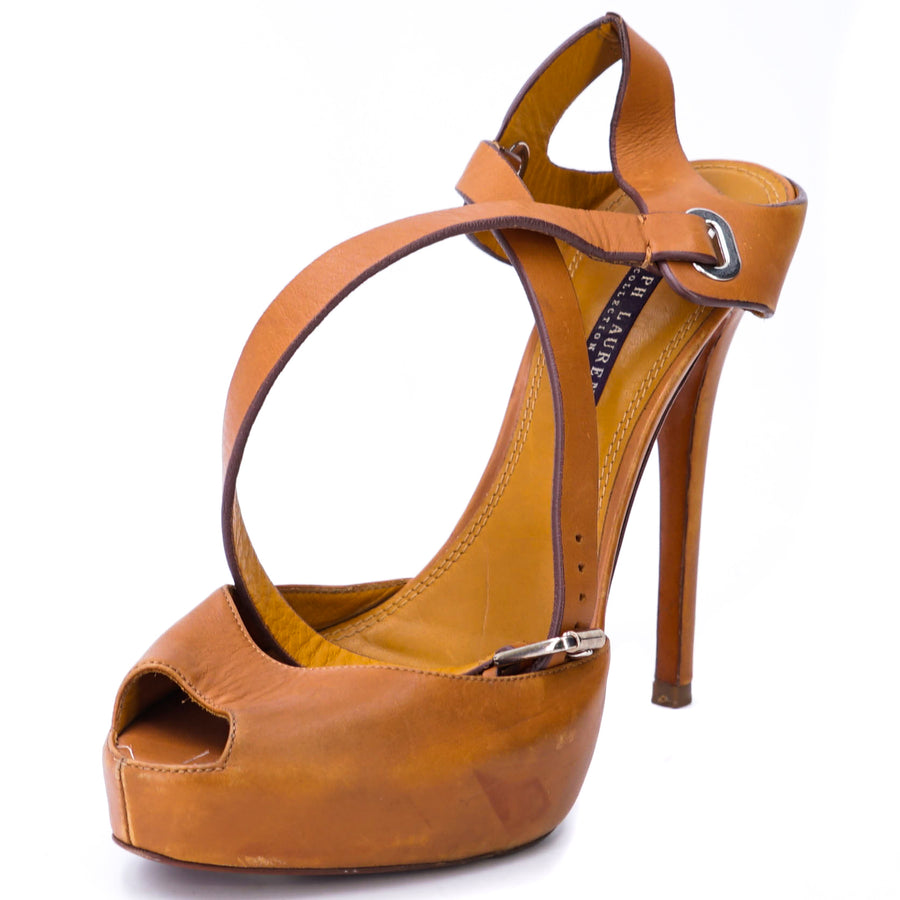 Tan Leather Peep Toe Heels Size 9.5