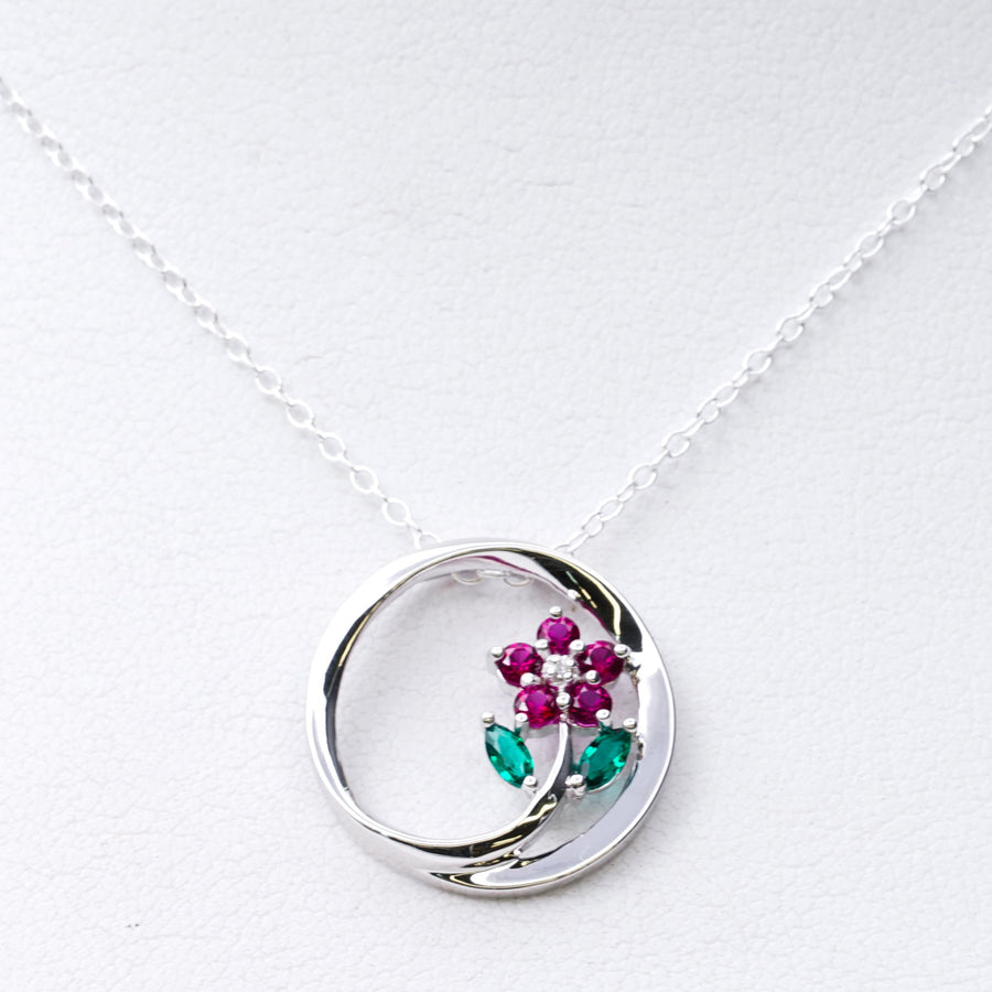 Sterling Silver Flower Circle Necklace