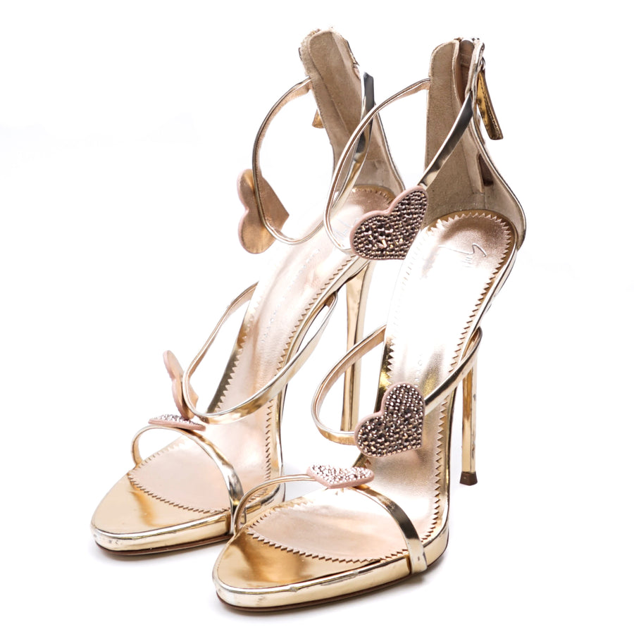 Metallic Heart Heels Size 39 1/2