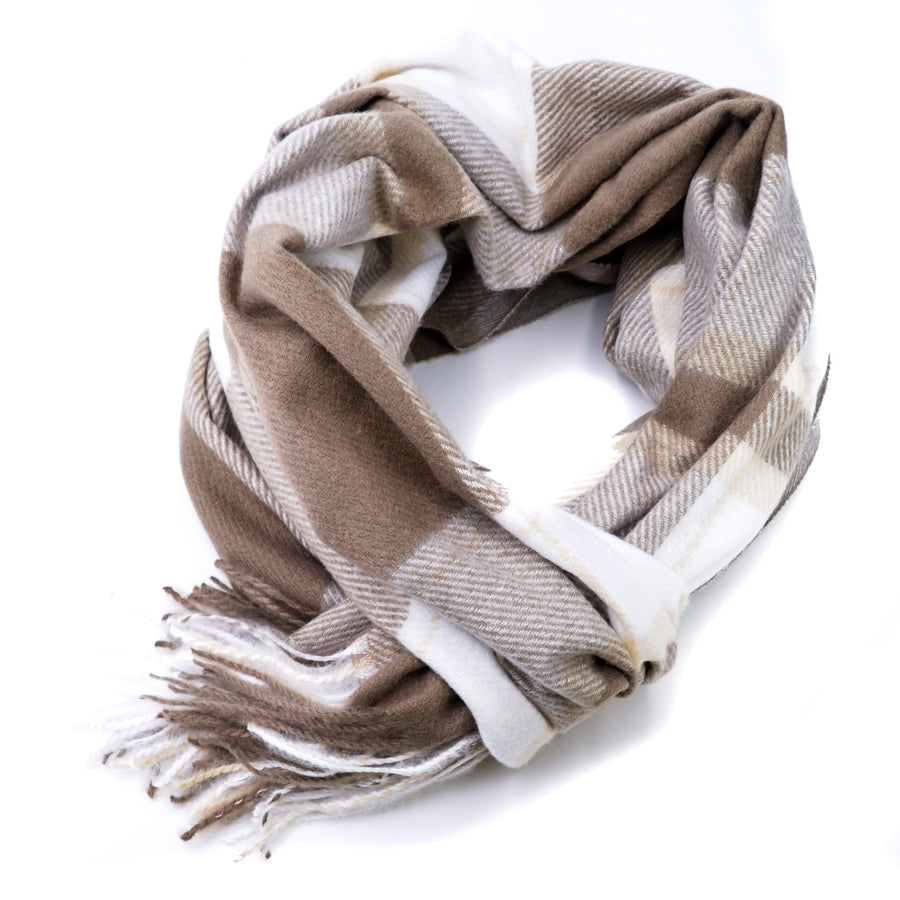 Brown Plaid Winter Scarf