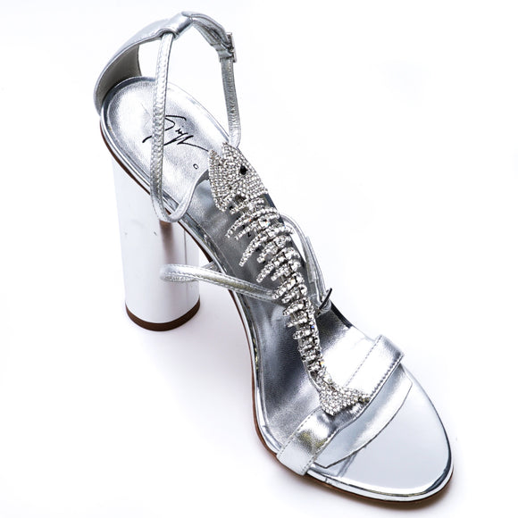 Crystal Fish Skeleton Open Toe Heels Size 7