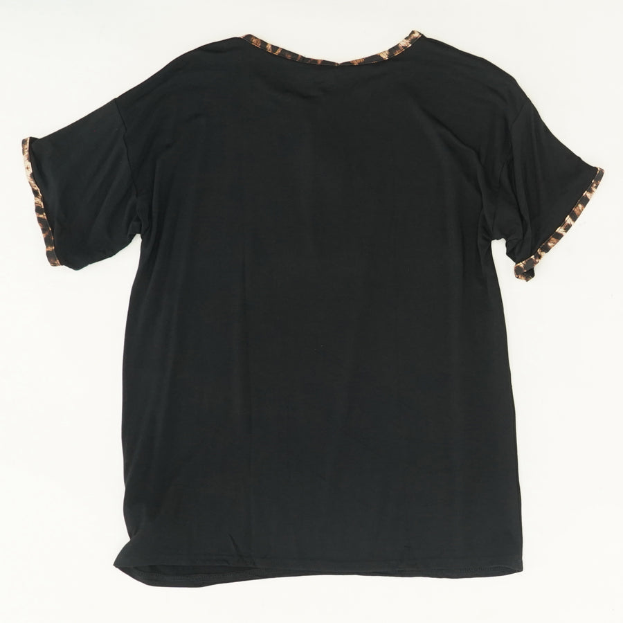 Leopard Print Ringer Tee Size 10