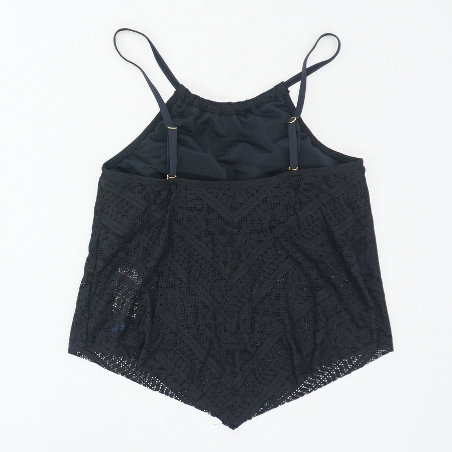 Black Lace Scoop-Neck Bikini Tank Top Size 4 & 10