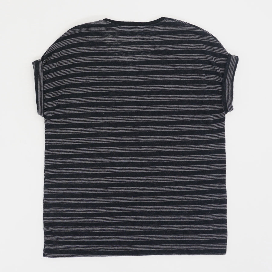 Cuffed Split Neck Pocket Tee - Size S