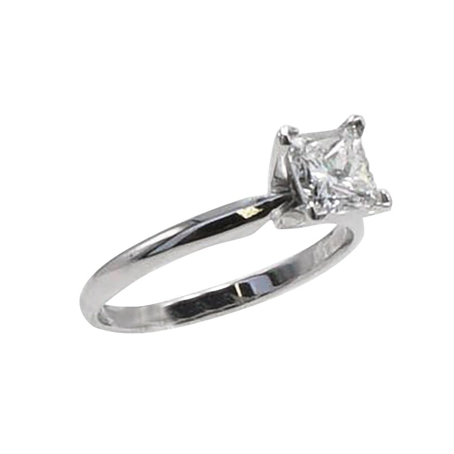 White Gold Princess Cut Solitaire Diamond Engagement Ring - Size 6.5