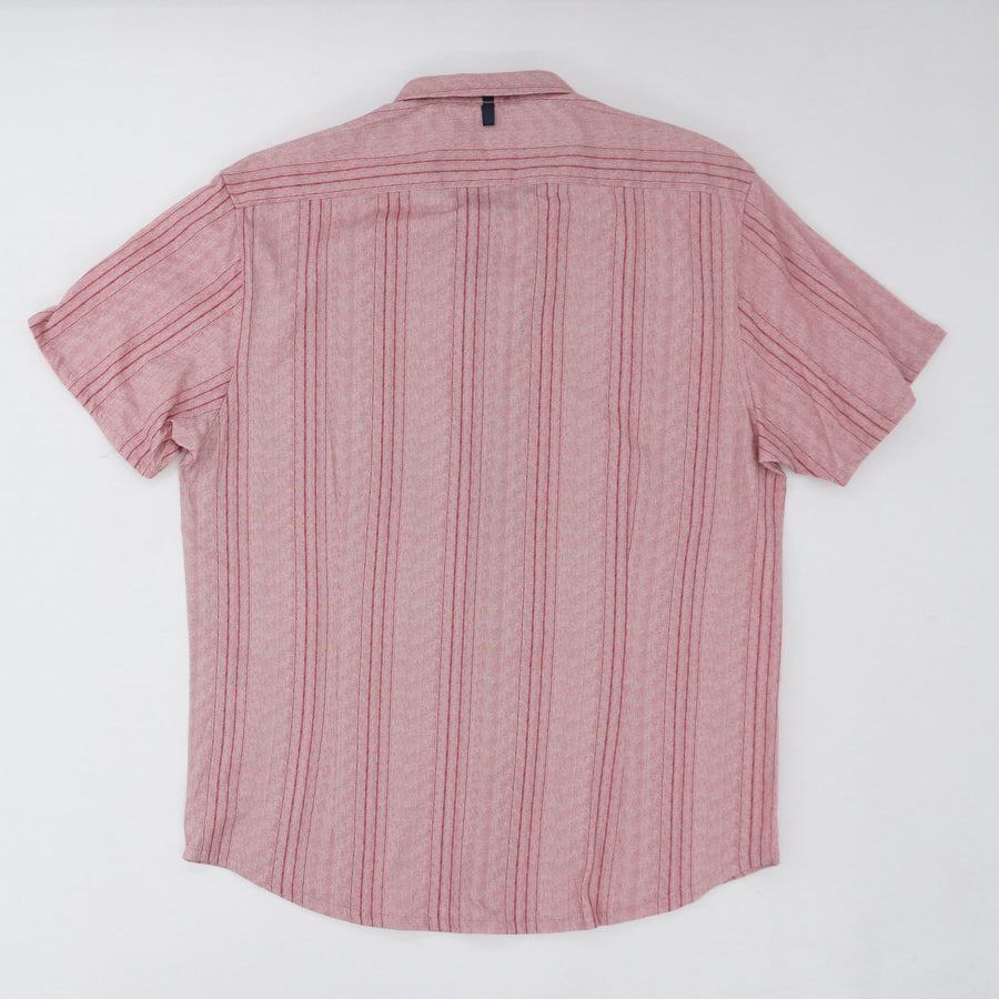 Red Vertical Stripe Reworked Shirt - Size XL