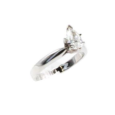 Pear Shaped Solitaire Diamond Engagement Ring - Size 6
