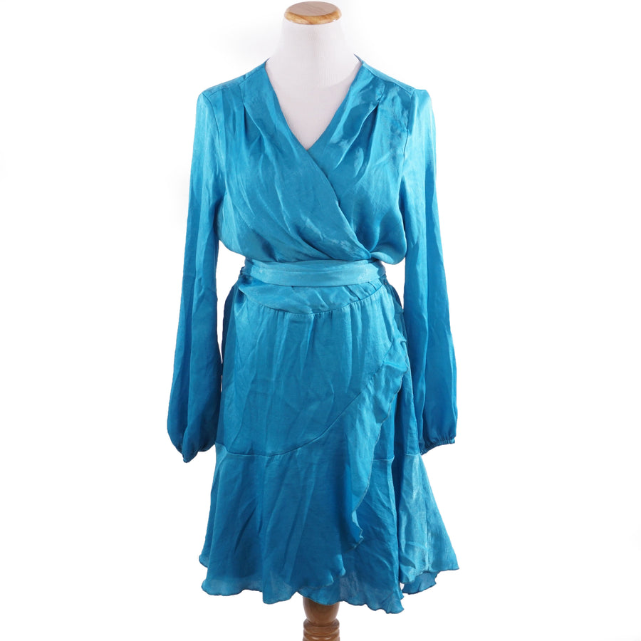 Satin Mini Wrap Dress in Aqua Blue Size 14