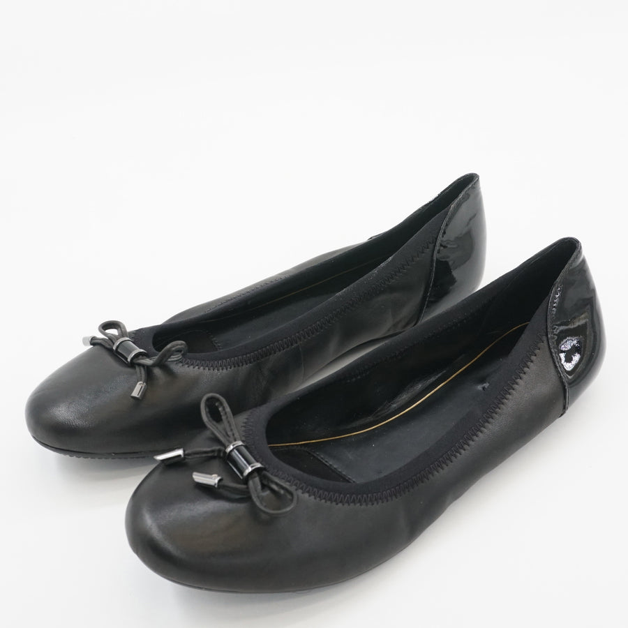 Black Leather Flats Size 8