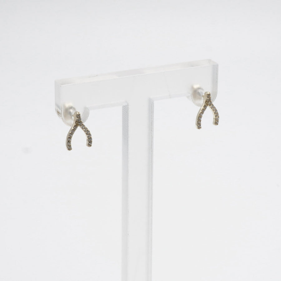 Small Gold Toned Wishbone Stud Earrings With Clear Stones