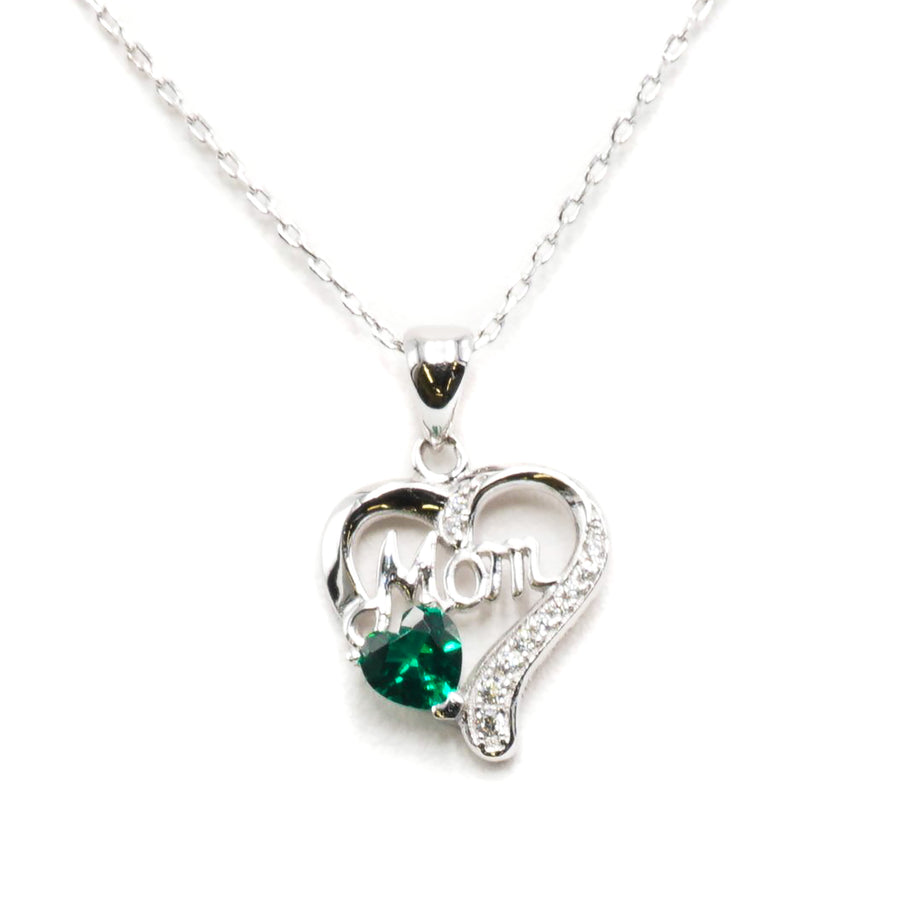 Heart Shaped Sterling Silver W/ Green Stone and Mom Letter Pendant