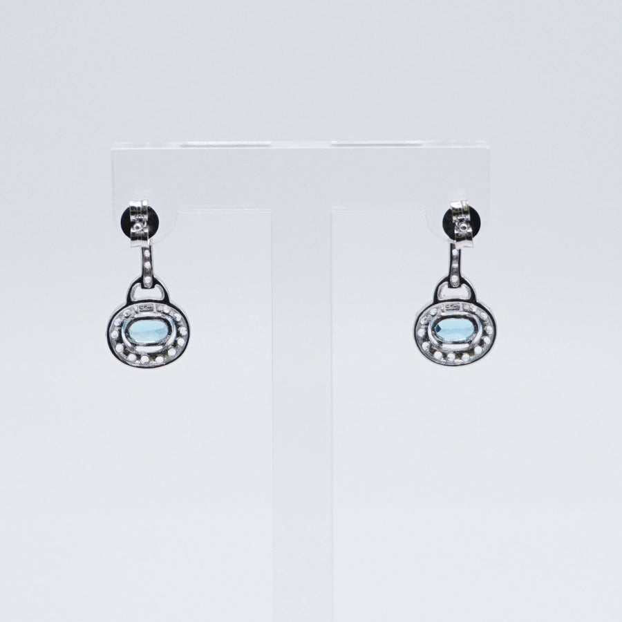 Dainty Oval Drop Silver Earrings with Blue Stone