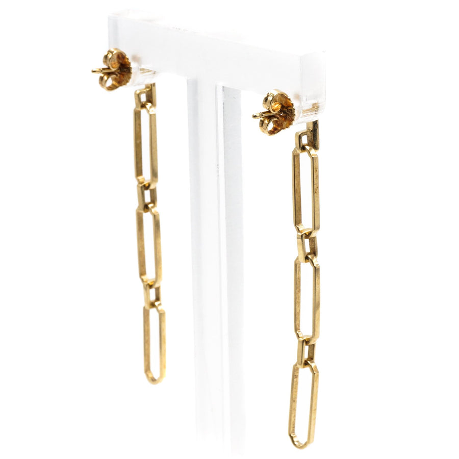 Yellow Gold Graduated Link Earrings