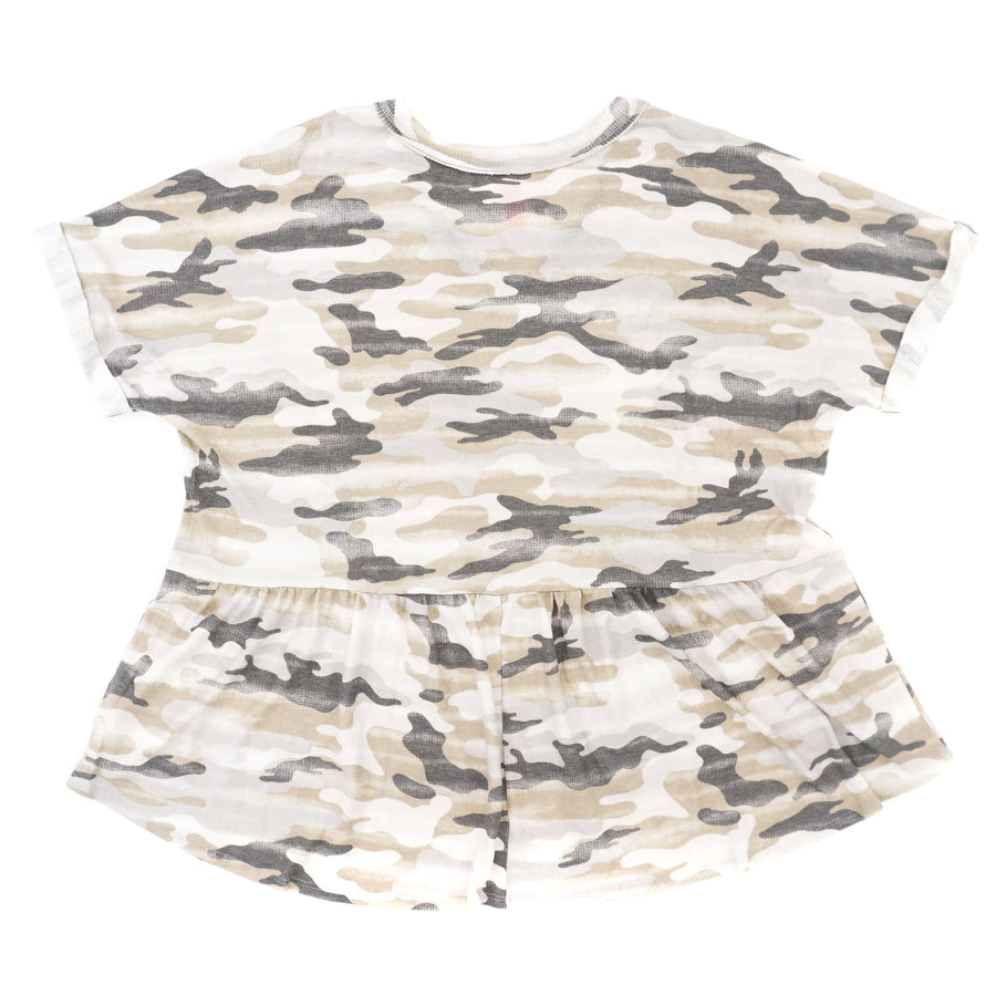 Camo Fit and Flare V-Neck Blouse Size L/XL