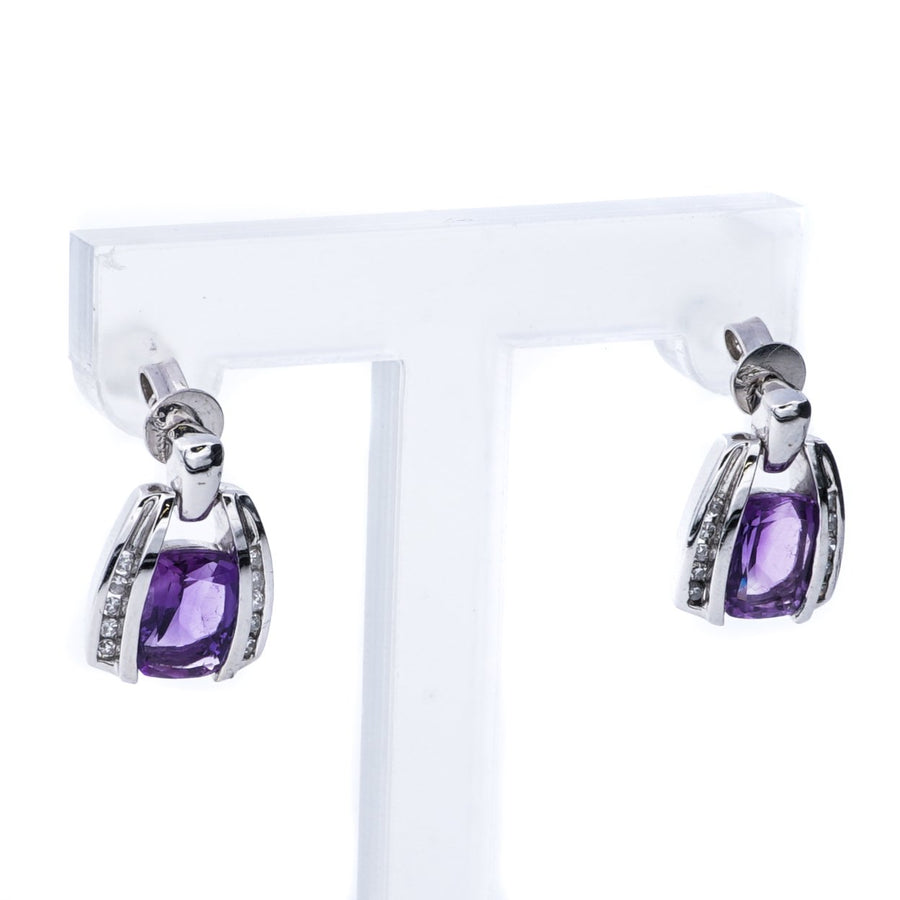 14K White Gold Dangle Drop Earrings with Amethyst and Diamond Stones