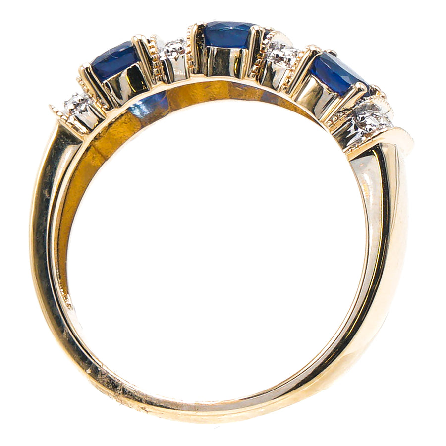 14K Gold Ring With Sapphire And Diamond Size 7