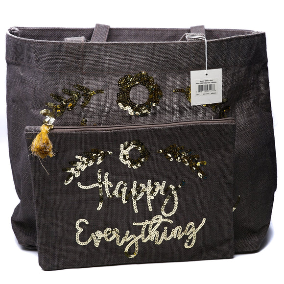 Happy Everything Jute Tote