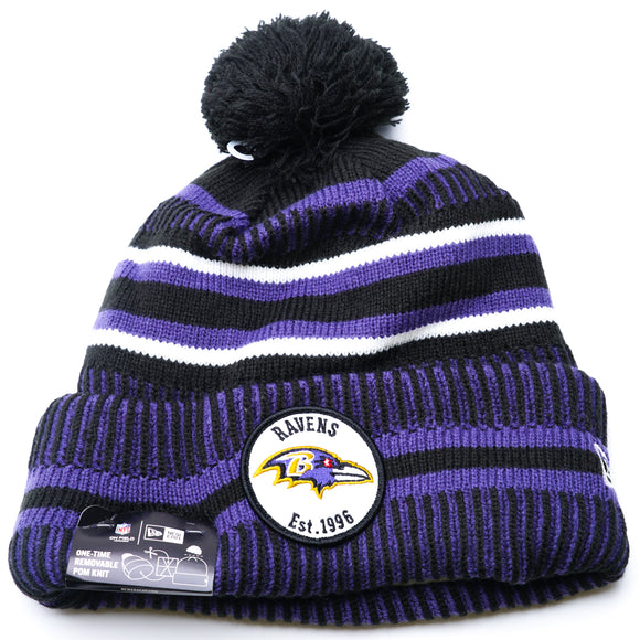 Baltimore Ravens Lined Cuff Pom Beanie