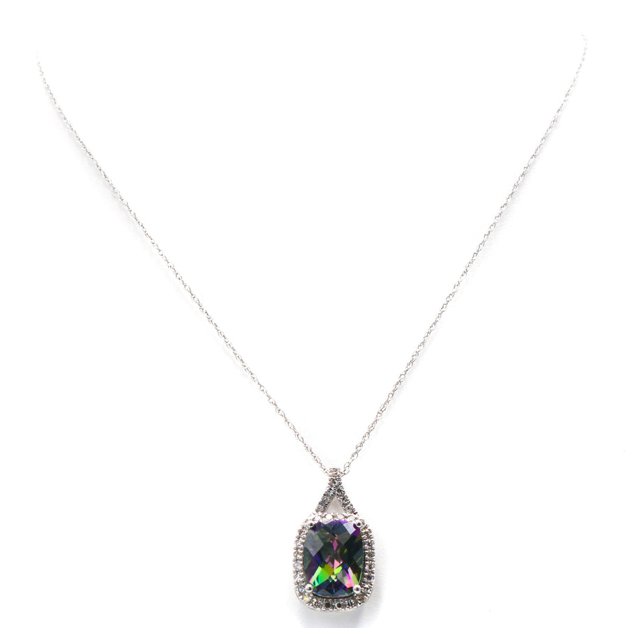 14K White Gold Necklace with Treated Topaz and Diamond Pendant